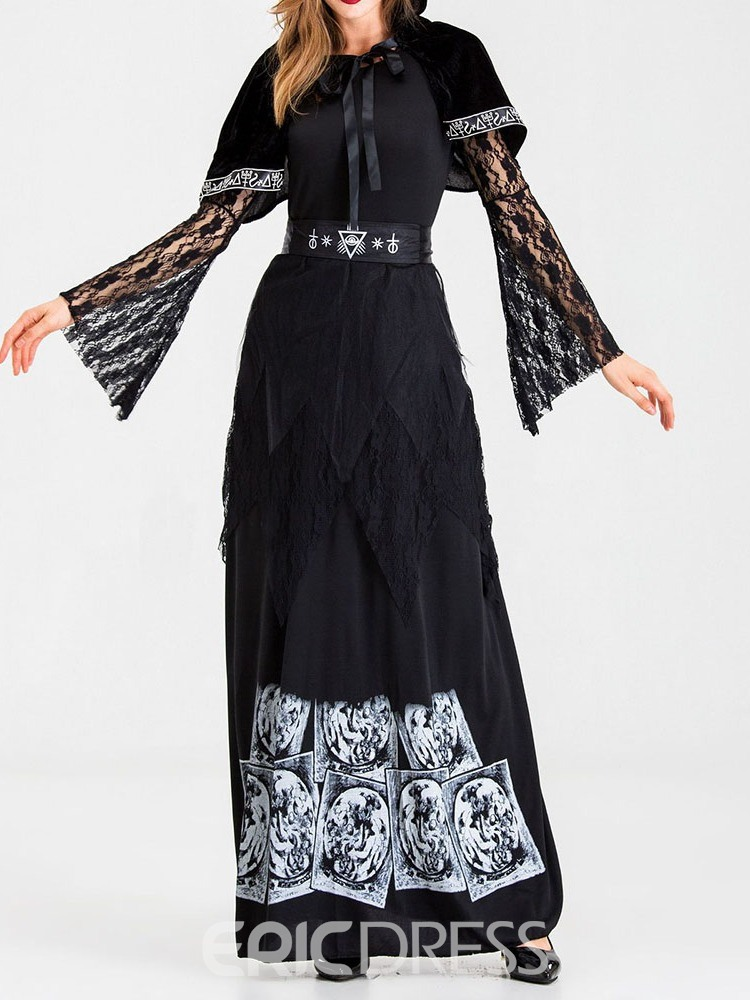 Ericdress Patchwork Long Sleeve Vintage Classic Halloween Cotton Blends Costumes