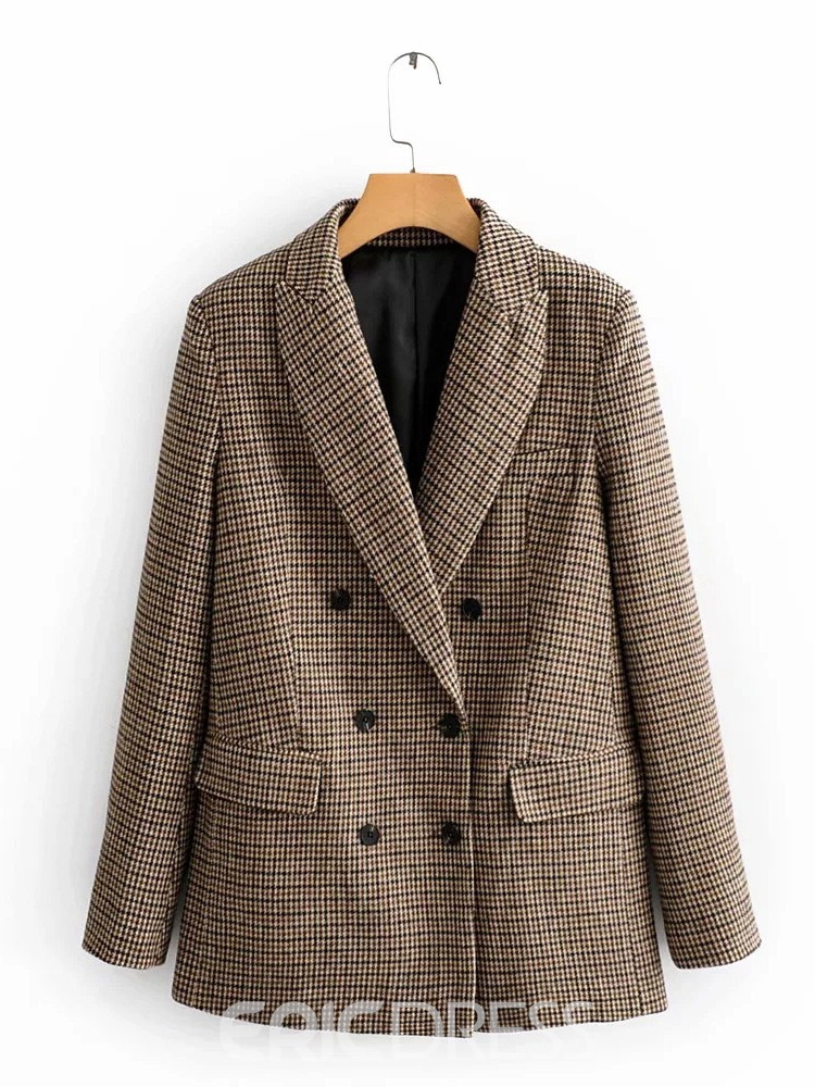 Ericdress Houndstooth Blazer Womens Plaid Long Sleeve Notched Lapel Mid-Length Winter Casual Blazer