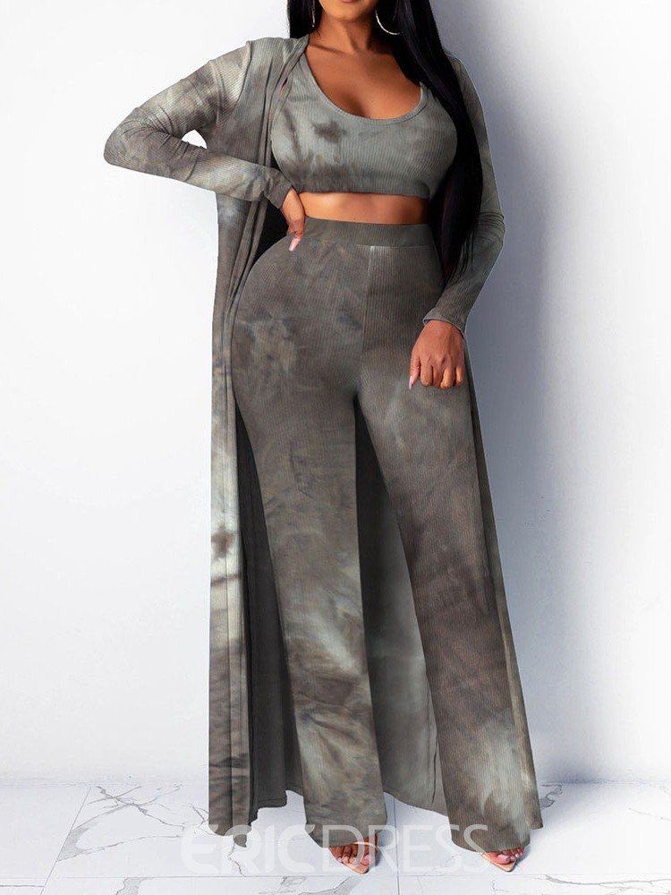 Ericdress Tie-Dye Casual Coat Wrapped Two Piece Sets