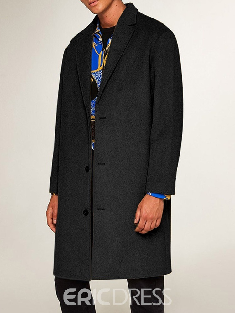 Ericdress Plain Mid-Length Notched Lapel Single-Breasted European Coat