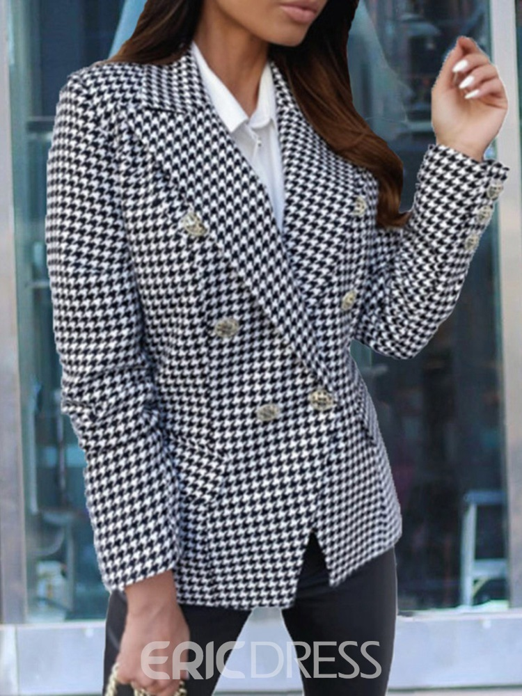 Ericdress Houndstooth Blazer Womens Double-Breasted Notched Lapel Long Sleeve Winter Regular Casual Blazer
