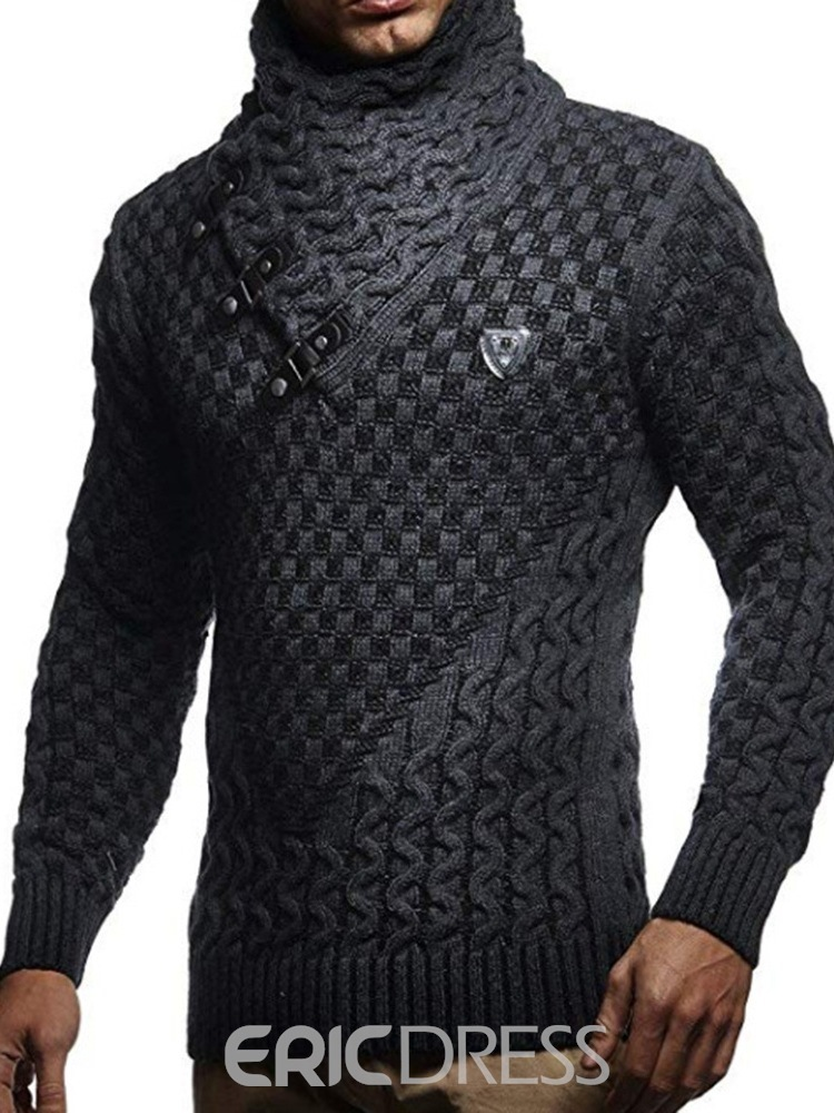 Ericdress Plain Patchwork Turtleneck Standard Slim Fall Men's Sweater