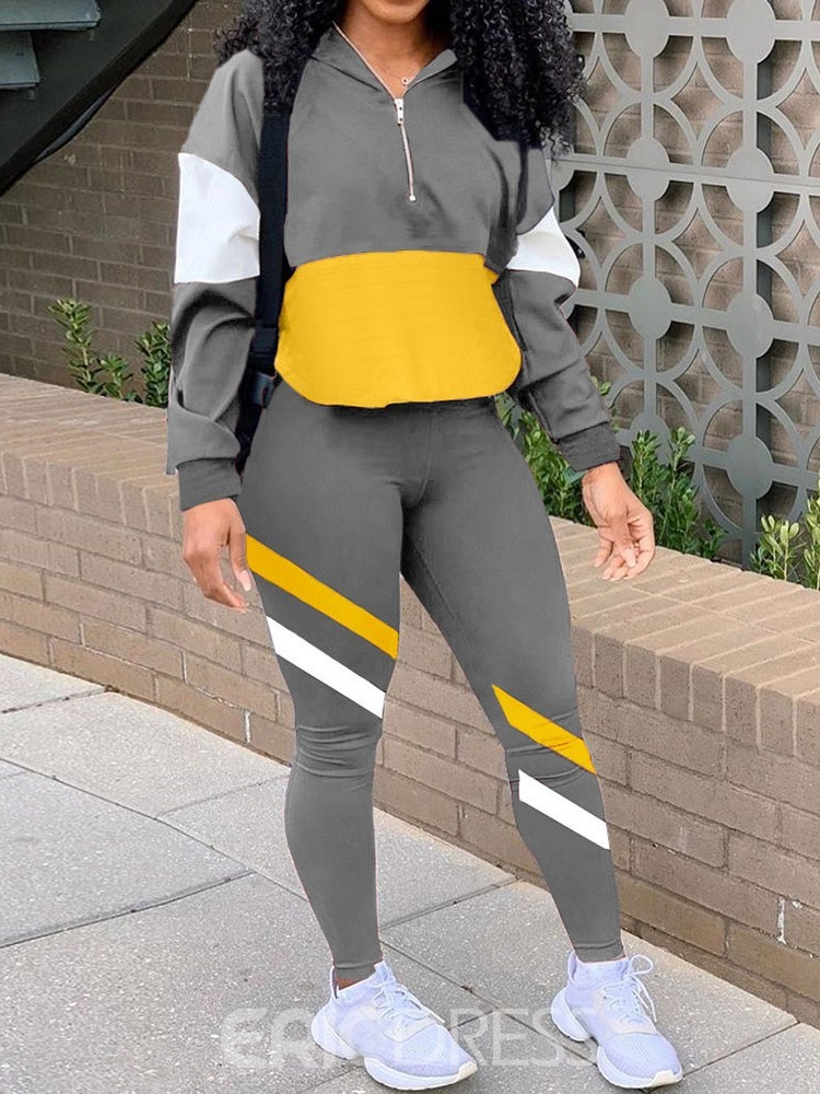 Ericdress Hoodie Zipper Sports Pencil Pants Two Piece Sets