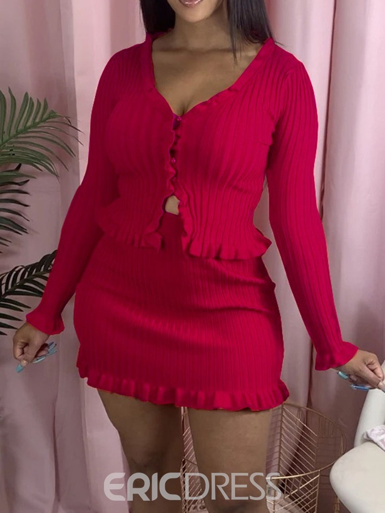 Ericdress Sweater Button Plain Bodycon Single-Breasted Two Piece Sets