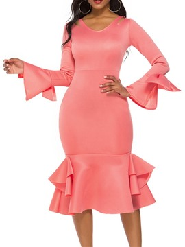 Ericdress Mid-Calf Long Sleeve V-Neck Pullover Mermaid Dress