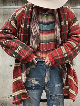 Ericdress Plaid Mid-Length Loose Winter Sweater