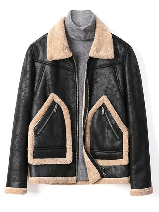 Ericdress Lapel Patchwork Color Block Winter European Jacket