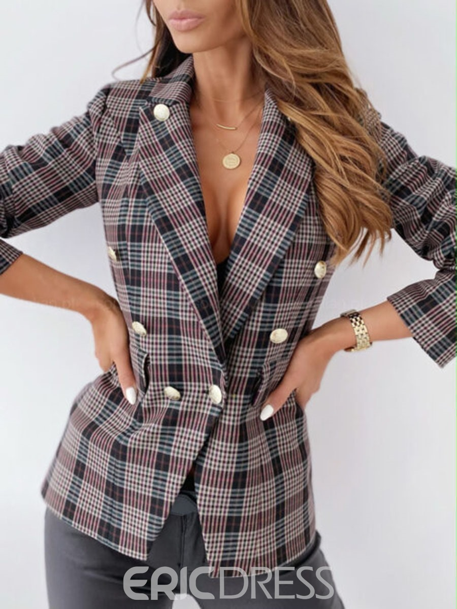 Ericdress Notched Lapel Plaid Long Sleeve Fall Standard Casual Blazer