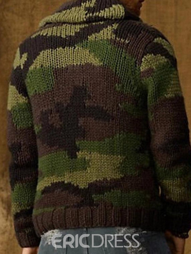 Ericdress Lapel Standard Camouflage Single-Breasted Winter Sweater
