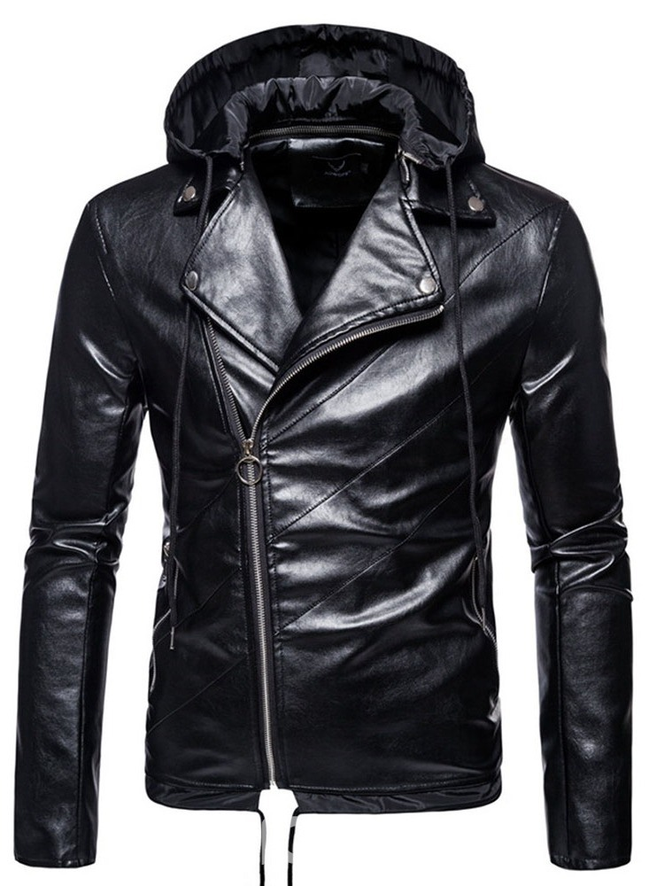 Ericdress Standard Plain Lapel Fall European Leather Jacket