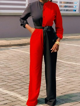 Ericdress Button Color Block Full Length Loose Straight Jumpsuit