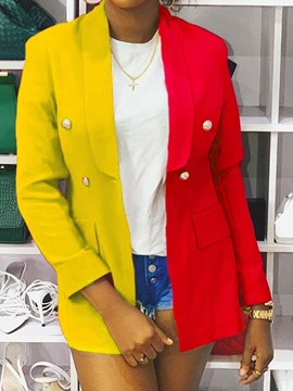 blazer casual regular de longitud media con solapa con muescas cruzadas y bloque de color ericdress