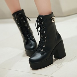 Ericdress Round Toe Chunky Heel Lace-Up Front Western Boots