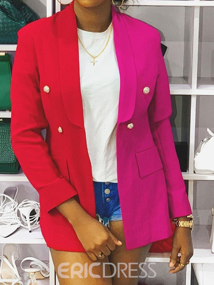Ericdress Color Block Double-Breasted Notched Lapel Mid-Length Regular Casual Blazer