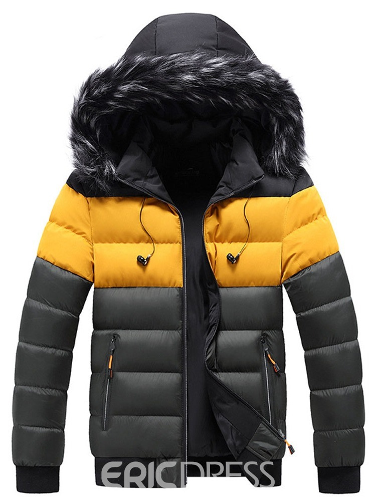 Ericdress Stand Collar Standard Color Block Zipper European Down Jacket