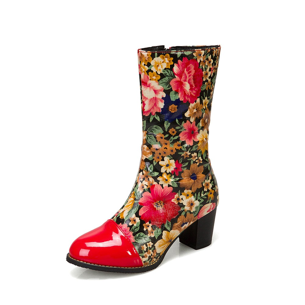 Ericdress Chunky Heel Floral Round Toe Western Boots