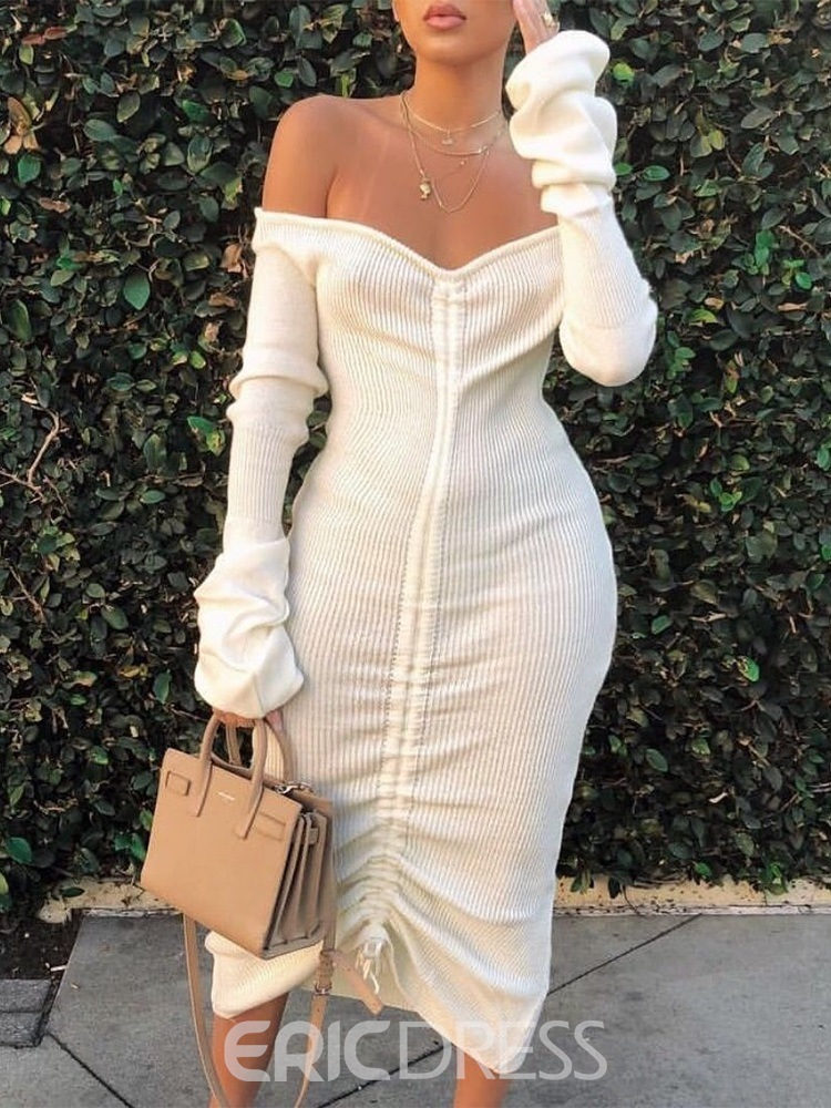 Ericdress Mid-Calf Lace-Up V-Neck Pullover Date Night/Going Out Dress