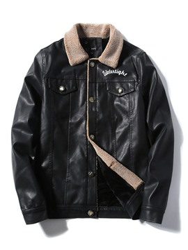 Ericdress Lapel Letter Standard Single-Breasted Winter Leather Jacket