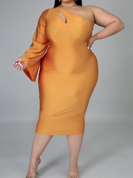 Ericdress Plus Size Mid-Calf Long Sleeve Hollow Sexy High Waist Dress