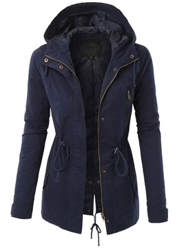Ericdress Hooded Zipper Zipper Casual Fall Trench Coat