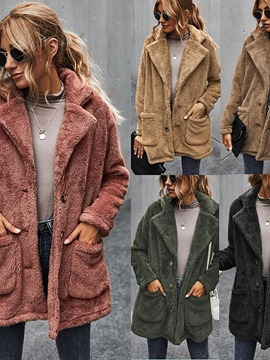 Ericdress Straight Single-Breasted Button Mid-Length Cotton Padded Jacket