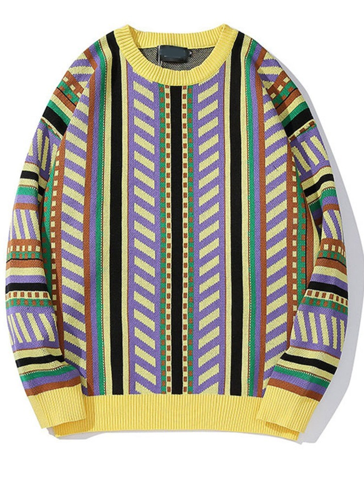Ericdress Round Neck Patchwork Geometric Loose Fall Sweater