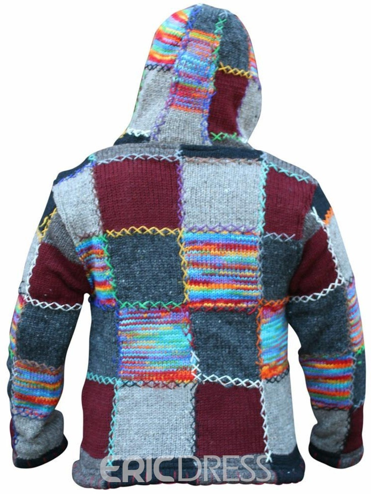 Ericdress Patchwork Standard Color Block Zipper Men's Slim Sweater
