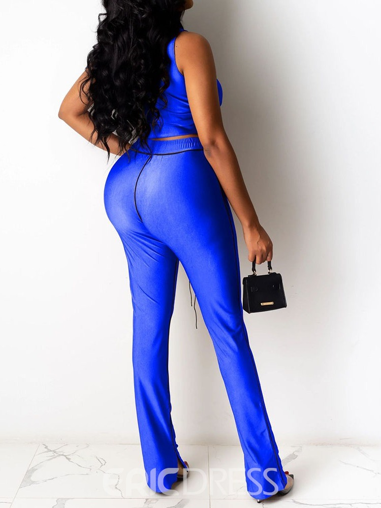 Ericdress Lace-Up Sexy Plain Bellbottoms Two Piece Sets