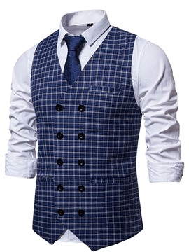 Ericdress Plaid V-Neck Double-Breasted OL Waistcoat
