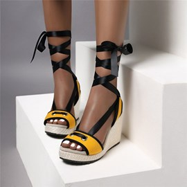 Ericdress Open Toe Wedge Heel Ankle Strap Cross Strap Sandals