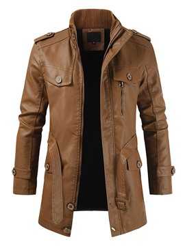 Ericdress Stand Collar Plain Mid-Length Winter Pocket Leather Jacket