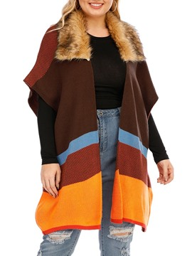Ericdress Patchwork Stripe Wrapped Fall Mid-Length Vest