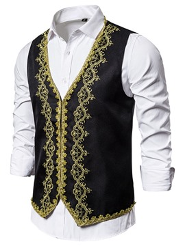 Ericdress Floral Embroidery V-Neck Fall Ethnic Waistcoat