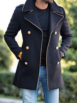 Ericdress Mid-Length Color Block Button Double-Breasted Fall Coat