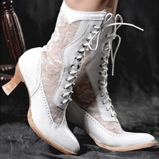Ericdress Lace-Up Front Round Toe Plain Vintage Boots