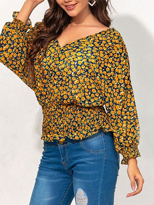 Ericdress Floral V-Neck Pleated Long Sleeve Standard Blouse