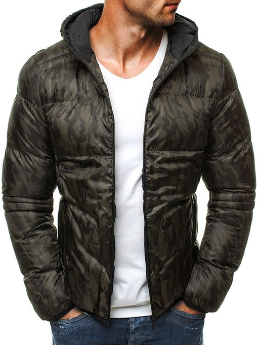 Ericdress Camouflage Print Hooded Casual Zipper Down Jacket