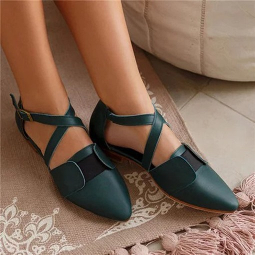 Ericdress Pointed Toe Buckle Block Heel Patchwork Thin Shoes