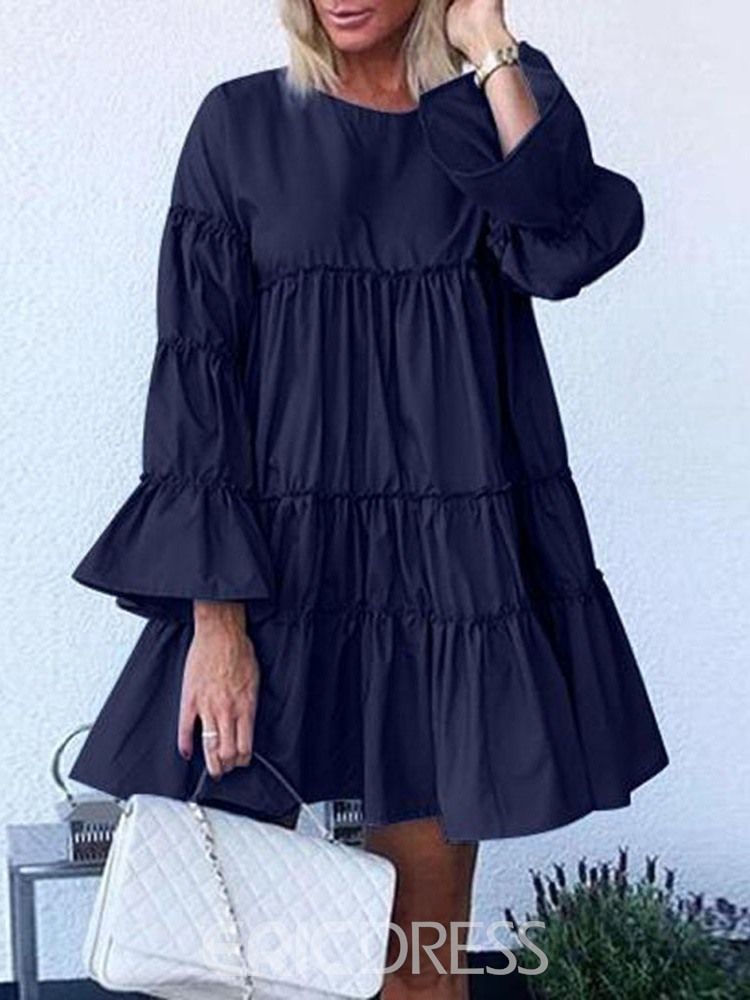 Ericdress Above Knee Pleated Long Sleeve Pullover Plain Dress