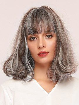 Ericdress Women's Kinky Curly 130% Density Synthetic Hair Capless Wigs With Bangs 14Inches