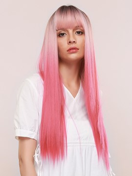 Ericdress Women's Silky Straight Pink Color Synthetic Hair 130% Density Capless Wigs 28Inches