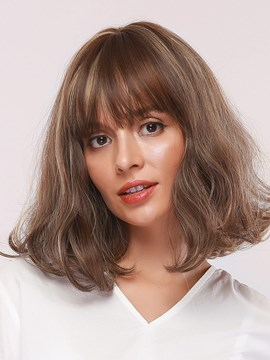 Ericdress Medium Hairstyle Women's Bob Style Wavy Synthetic Hair Capless Wigs With Bangs 14Inches