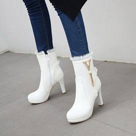 Ericdress Side Zipper Patchwork Round Toe Short Floss Boots