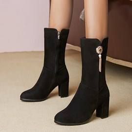 Ericdress Side Zipper Plain Round Toe Fringe Boots