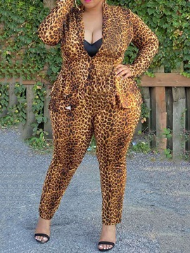 Ericdress Sexy Leopard Jacket Pencil Pants Two Piece Sets