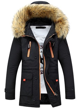 Ericdress Color Block Zipper Hooded Casual Zipper Down Jacket
