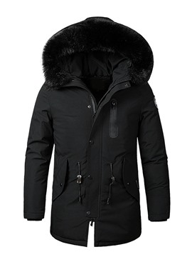 Ericdress Hooded Appliques Mid-Length Zipper Down Jacket
