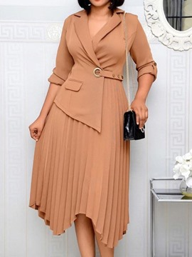 Ericdress Notched Lapel Three-Quarter Sleeve Mid-Calf High Waist Fall Dress
