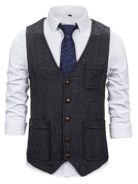 Ericdress Plain Pocket V-Neck OL Single-Breasted Waistcoat