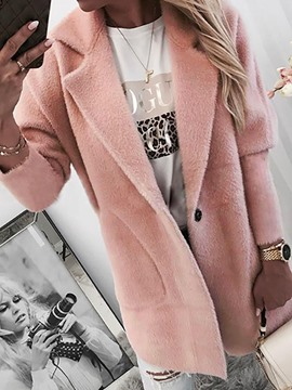 Ericdress One Button Loose Mid-Length Notched Lapel Overcoat